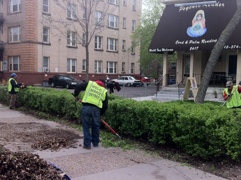 Service District Crews Performing Landscape Maintenance